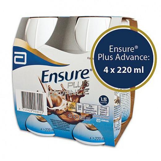 Ensure Plus Advance Čokolada, 4 x 220 ml