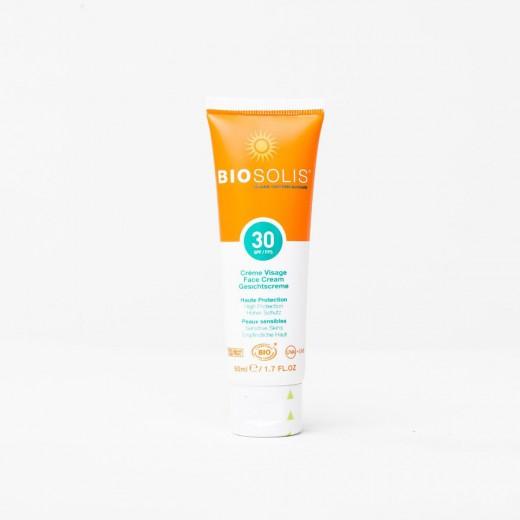 Krema za zaščito obraza pred soncem z ZF 30 Biosolis, 50 ml