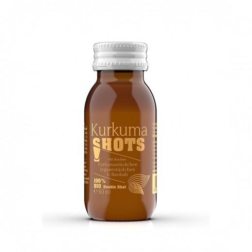 Bio napitek Shots s koščki kurkume in ingverja, 60 ml