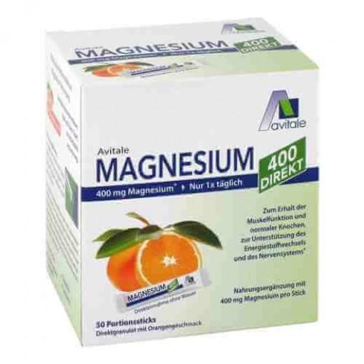 Magnezij 400 DIREKT, Avitale, z okusom pomaranče, 50 vrečic