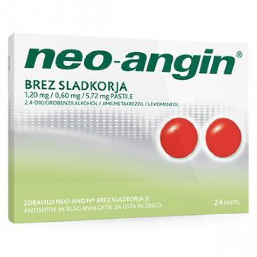 Neo-angin brez sladkorja 1,20 mg/0,60 mg/5,72 mg pastile, 24 pastil