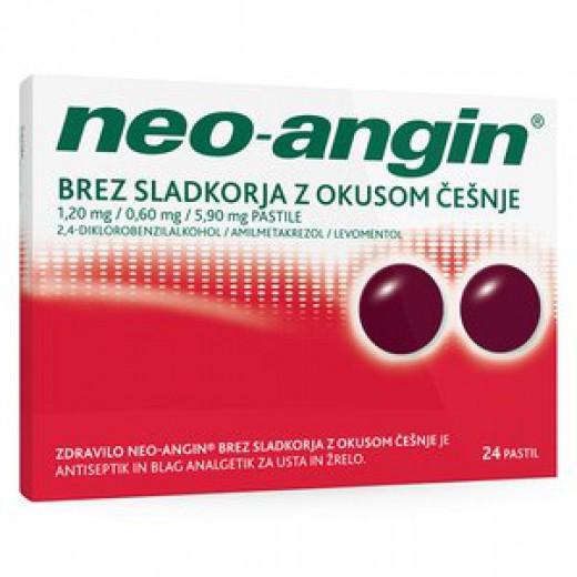Neo-angin brez sladkorja z okusom češnje 1,20 mg/0,60 mg/5,90 mg pastile, 24 pastil