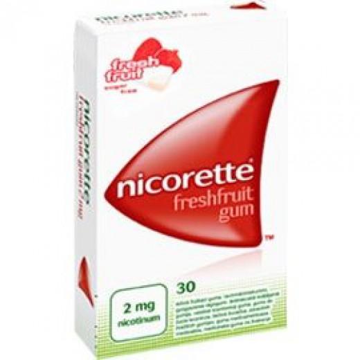 Nicorette Freshfruit z okusom sadja 4 mg zdravilni žvečilni gumiji, 30 kom