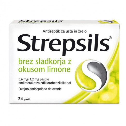 Strepsils brez sladkorja z okusom limone 0,6 mg/1,2 mg pastile, 24 pastil
