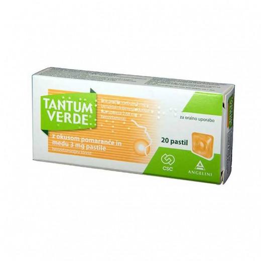 Tantum Verde z okusom pomaranče in medu 3 mg pastila, 20 pastil